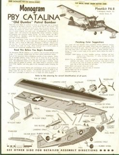 PBY Catalina Monogram Model Kit Instructions 60s