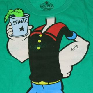 Licensed Popeye The Sailor Man Spinach Classic Cartoon Green Mens T