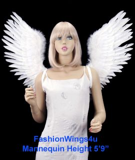 Adul Large V Shape Open Swing Whie Feaher Angel Wings Fairy Swan