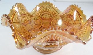 Imperial Carnival Glass Diamond Ring Pattern Marigold