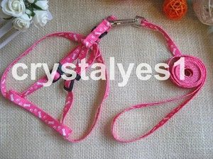 1PC Pink Bone Paw Print Small Pet Dog Cat Lead Leash Harness
