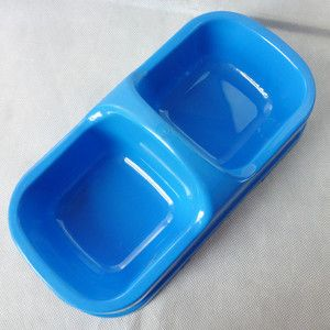 DeepSkyBlue Plastic Pet Dog Cat Water Dish Food Feeder Bowl