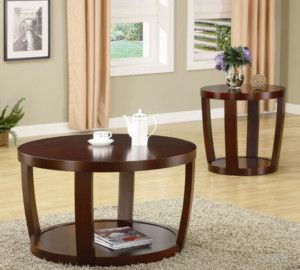 2pc Cedar Crest Dark Cherry Wood Coffee End Table Set
