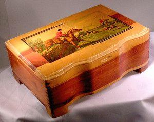 Cedar Chest Trinket Box Riding to Hounds Fox Hunting Horse Dog