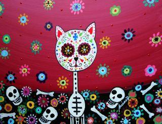 Mexican Folk Art Day of The Dead Flower Cat Gato Prisarts Original