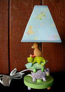 the POOH Nursery Lamp By Cathy Heck w/Plush Animals 14 High EUC