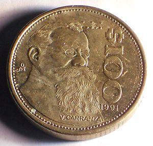 Mexico 1991 $ 100 Pesos Coin V Carranza AU