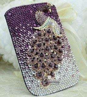 rhinestone purple peacock mobile phone iphone pouch case cover l5