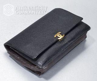 Chanel Black Caviar Leather WOC Wallet on Chain Crossbody Clutch Bag