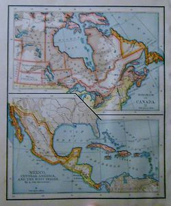 Canada Mexico Cuba West Indies Central America Map Color Nice