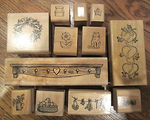 Wooden Rubber Stamp Lot Country Shelf Flowers Cat Boxes