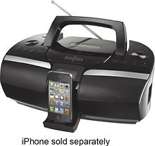 Insignia NS BIPCD02 CD Boombox with FM Radio and Apple iPhone and iPod