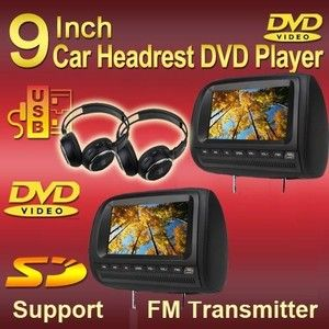 Black 2x9 HD LCD Headrest Car CD DVD Players Monitor Wireless Game IR