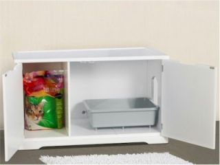 New Secret Cat Litter Box Cabinet White Fits in Most Bathrooms