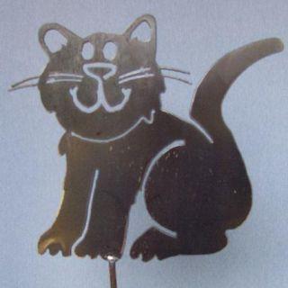 Whimsical Cat Metal Art Yard Stake Garden Patio Decor New Rustic Gift