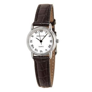 Casa de Velli Ladies Quartz Watch Black Leather Strap
