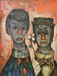 1960s Cubist Hugo Casar Mid Century Oil Painting   Two Clowns