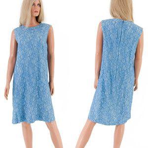 Vtg 60s Mod SHIFT Dress Cerulean Blue CHANTILLY LACE Cocktail Wedding