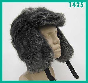 Cejon Unisex Black Grey Faux Fur Earflap Hat O S Rtl 48 Nwot Jmto