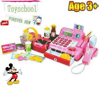 Disney Mickey Minnie Mouse Bow tique Cash Register Food Appliance Set