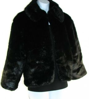 Cejon Womens Black Faux Fur Beaver Bolero Jacket Winter Coat Size