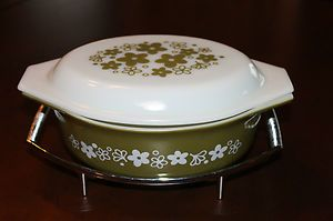 Vintage Pyrex Oval Casserole Dish w Lid Stand Spring Blossom 1 Pattern