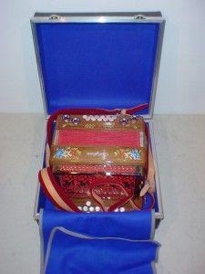 Castiglione Folklore Model Walnut Button Box Accordion with Case Strap