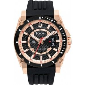 New Bulova Mens Precisionist Champlain Rose Gold Black Rubber Strap