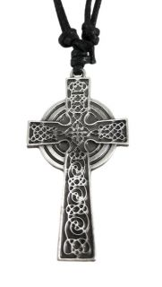 solid pewter pendant features a highly detailed celtic cross the