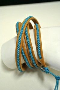 Chan Luu Braided Leather Wrap Bracelet NEW Adjustable Brown Blue