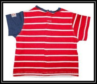 Catimini Labo Infant Baby Boys Red White Blue Tee Shirt Shorts 71 9M