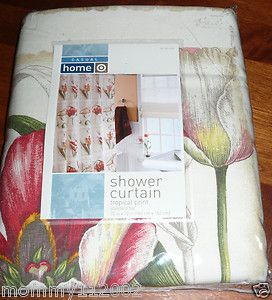 Casual Home Tropical Print Shower Curtain Birds of Paradise Ivory Red