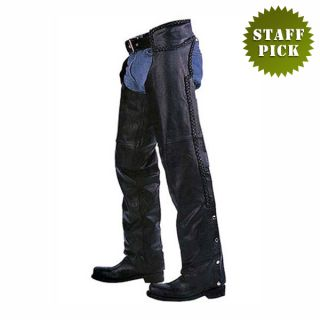 Solid Buffalo Leather Braided Motorcycle Biker Chaps Size 5XL