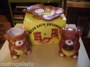 CERAMIC Bath Cup Soap Dish Toothbrush Holder 3 pc BROWN BEAR BATHROOM