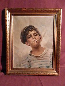 Vito LOMBARDI (1885 1962) Original Oil Painting Young Boy Smoking