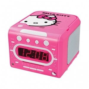 HELLO KITTY STEREO ALARM CLOCK AM FM RADIO CD PLAYER KIDS CHILDREN
