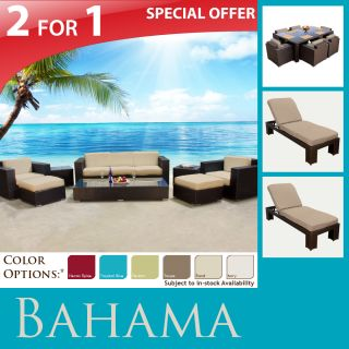 Patio Outdoor Furniture Sofa 7pc Dining Set 2 Lounge Chaises