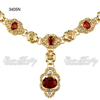 Link Chains Red Acrylic Stones Gold Metal Pendant Necklace 3405N