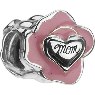 Authentic Chamilia Mom Rose Flower Heart Bead Charm Sterling Silver
