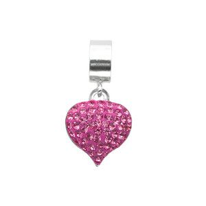 Sterling Silver Pink Crystal Heart Bead For Chamilia Biagi Personality