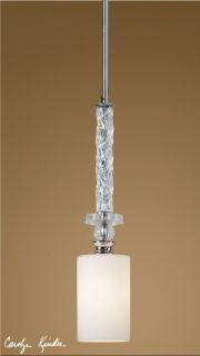 Pendant Light Nickel & Glass Shade Chandelier Lighting Fixture Lamp