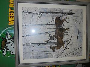 Charles H Denault 1991 Come November Signed and Framed Deer Print