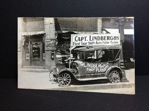 Antique Postcard Charles Lindberg Old Car in Home Town Little Falls MN