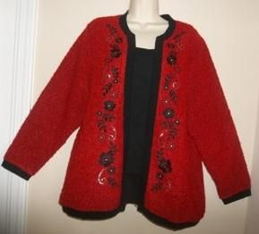 Cathy Daniels Red / Black Floral Embroidery 2 Fer Cardigan SWEATER Top