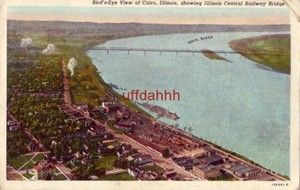 View of Cairo IL Showing Illinois Central Railway Bridge 1951