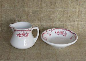 Vintage Shenango China Chardon Rose Restaurant Ware Cream Pitcher and