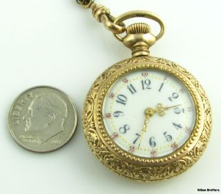 New England Cavour Open Face 3/0S Pocket Watch & Chain   Gold Filled