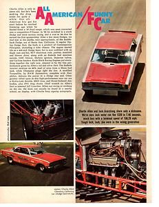 1969 DODGE HEMI DART CHARLIE ALLEN DRAG RACING GREAT ARTICLE ADAD