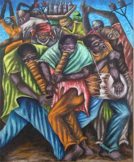 Charles Obas RARE Lised Haiian Primiive Musicians Oil on Canvas