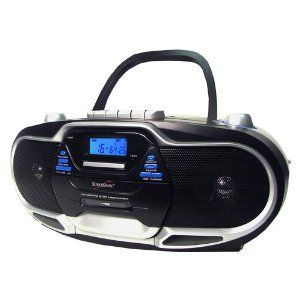 Supersonic Portable Boombox CD Cassette Player  Tape Am FM Radio